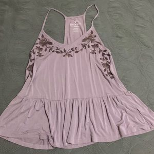 American Eagle Purple Embroidered Tank Top